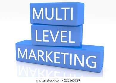 3d render blue box with text Multi Level Marketing on it on white background with reflection