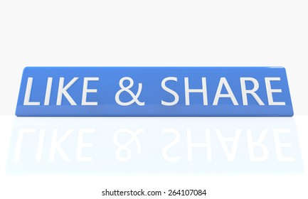 3d render blue box with text Like and share on it on white background with reflection