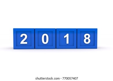 3d render of blue cubes with 2018 over white background - represents the new year 2018.
