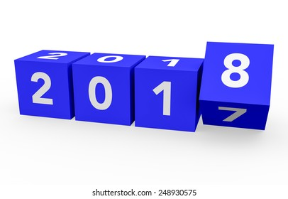 3d render blue cubes New Year 2018 on a white background.