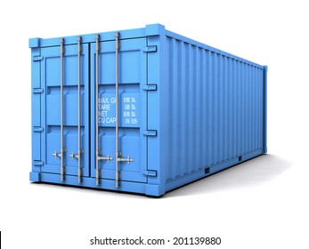 3d render of a blue freight container