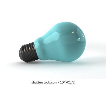 3d render of a blue light bulb