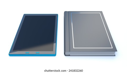 3d render of a book and digital tablet copyspace
