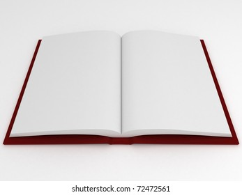 3d render of book with empty pages on white background