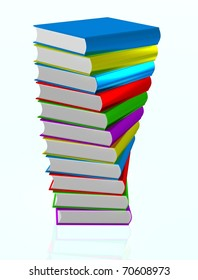 3D render of books on white isolated background
