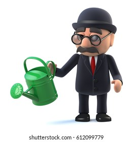 3d render of a bowler hatted British businessman holding a watering can, growing his business.