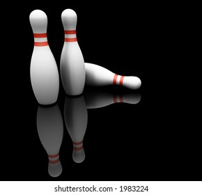 3D render of bowling pins