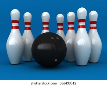 3d render of bowling pins and ball over blue background