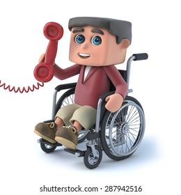 3d render of a boy in a wheelchair answering the phone.