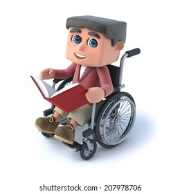 3d render of a boy in a wheelchair reading a book