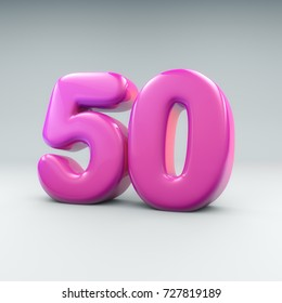 3D render of Bubble gum like number Fifty