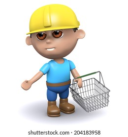 3d render of a builder carrying a shopping basket