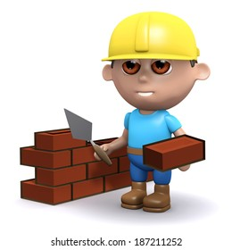 3d render of a builder laying bricks
