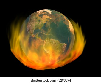 3d render of burning earth globe - image of earth created from texture map included in fully licensed, commercial version of Daz Bryce 3D rendering software.