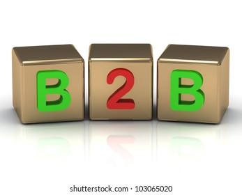 3D render Business to Business B2B on gold cubes