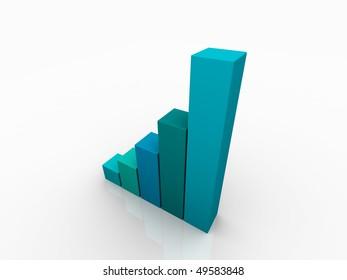 3D Render Business Graph