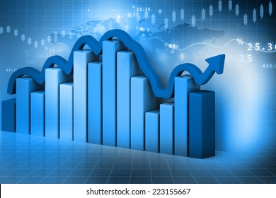 3d render of Business graph on abstract financial background