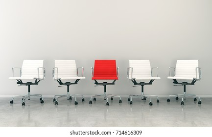 3d render of business lounge with five chairs
