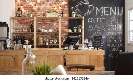 3d render of cafe bar restaurant nobody indoor. Empty coffee shop interior daytime with wooden design counter red brick wall in background. menu writing on blackboard with beautiful letters and cup.