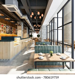 3d render of cafetaria and restaurant