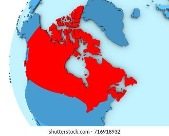 3D render of Canada in red on blue political globe. 3D illustration.