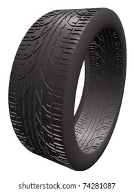 3d render of a car tire made of rubber