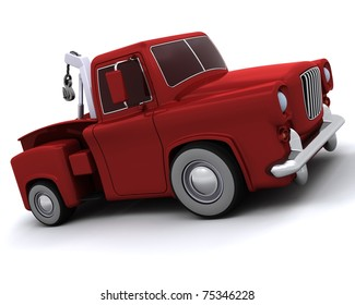 3D render of a Caricature of 50's pickup truck