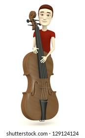 3d render of cartoon character with big violin