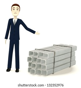 3d render of cartoon character with construction pipes