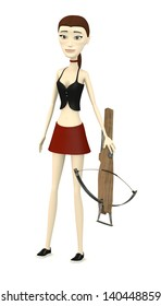 3d render of cartoon character with crossbow