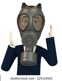 3d render of cartoon character with gas mask