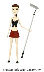3d render of cartoon character with golf club