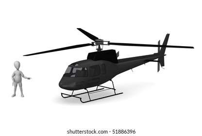 3d render of cartoon character with helicopter