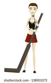 3d render of cartoon character with hockeystick