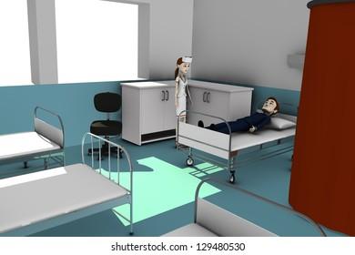 3d render of cartoon character in hospital