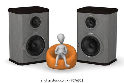 3d render of cartoon character listening music