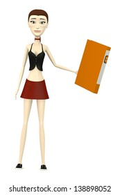 3d render of cartoon character with office files