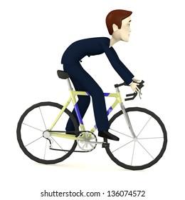3d render of cartoon character on bike