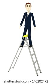 3d render of cartoon character on a ladder