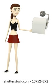 3d render of cartoon character with toilet paper
