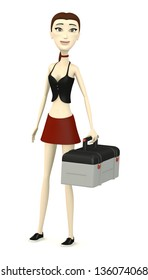 3d render of cartoon character with toolbox