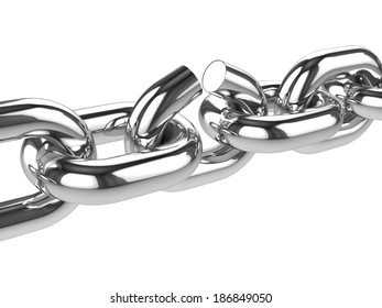 3d render of a chain link breaking