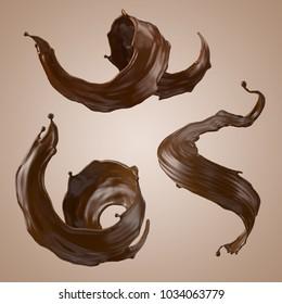 3d render, chocolate splash, wavy jets, liquid clip art collection, isolated design elements