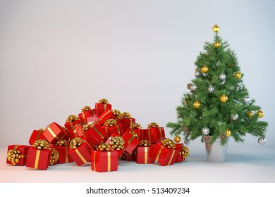3d render of a christmas tree with christmas presents