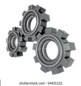 3D render of chunky metal gears