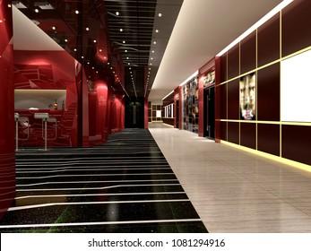 3d render of cinema mall