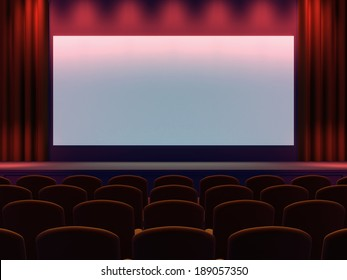 3d render of a cinema screen and seating