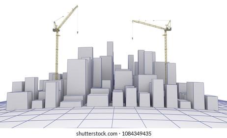 3D Render of a City Under Concstruction