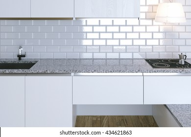 3D Render Close Up White Contemporary Kitchen in White Interior