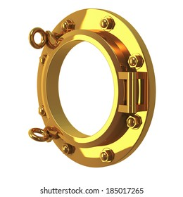 3d render of a closed brass porthole